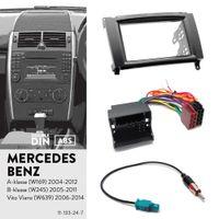 UGAR 11-133 Fascia Kit + Harnais ISO + Adaptateur d'antenne pour Mercedes-Benz A-klasse (W169) 2004-2012, klasse (W245) 2005-2011, Vito 2006+, Via