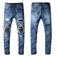 Lüks Katı Klasik Tarzı Moda Erkek Kot Varış Biker Yıkanmış Kot Sıkıntılı Yıkanmış Jeans Zebra Çizgili En Kaliteli ABD İNGILTERE Boyutu 29-40