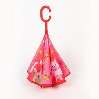 Capa 9style de dibujos animados animales de los niños Paraguas Infantil C Tipo inversa paraguas doble Pesca cortavientos paraguas al aire libre Paraguas GGA3534-3