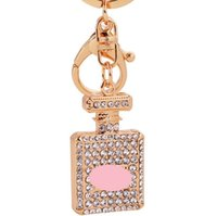 2019 3 Colors Diamond Crystal Perfume Bottle keychain Carabi...