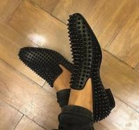 New Gentleman Party / Vestido / Hombre de negocios Parte inferior roja Oxford Flats Hombres Zapatos con pinchos Chaussure Homme Mocasines Zapatos para caminar 38-46