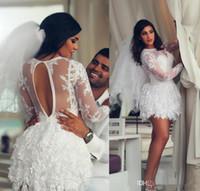 2020 Beach árabe cortocircuito del cordón de boda de los vestidos de manga larga de 15 jóvenes dulces graduación del regreso al hogar del cóctel del partido del vestido más el tamaño por encargo