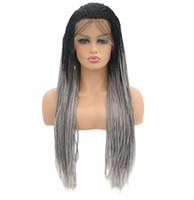 Lange synthetische Spitzefrontperücke für Frauen Afroamerikaner geflochtene künstliche Haarzöpfe Perücken