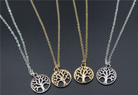 Vintage Tree of Life Collane con pendente Argento antico Placcato oro Collana con pendente Peace Trees Maglione catena Fine Jewelry Xmas Gift T003