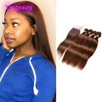 ملحقات الشعر البشري الماليزي 4 لون 3 حزم مع 4x4 الدانتيل إغلاق مع لحمة شعر الطفل مع إغلاق مستقيم 4PCS اللون 4 #