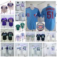 Vintage 2015 Hall of Fame Montreal Expos 51 Randy Johnson Baseball Trikots Günstige Pinstripe White Blue Randy Johnson genäht Hemden M-XXXL