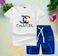 CHEL Little Kids Sets 2-7T T-shirt con scollo a V dei bambini Pantaloni corti 2Pcs / set Boys Girls Pura collezione di cotone in stile Sea World per l'estate