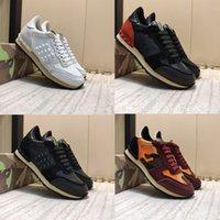 الأزياء مسمار برشام التمويه أحذية رياضية الرجال النساء جلدية شقق فاخر مصمم الاحذية أحذية عادية الحجم us5.5-12