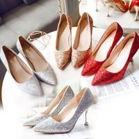 스파클링 스팽글 레이스 레드 웨딩 신발 편안한 디자이너 신부 실크 에덴 골드 발 뒤꿈치 신발 결혼식 저녁 파티 댄스 파티