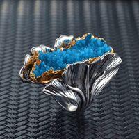 Anillo de las hojas de la hoja del Ginkgo de la vendimia para las mujeres retro de los dos tonos joyería exageración suena el partido femenino de Bohemia Cristal Rojo Azul