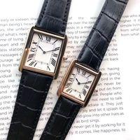 Top uomini e donne orologi di marca caso di cuoio quadrato donne di marca quarzo della cinghia di movimento automatico della data di moda veste la vigilanza all'ingrosso designer clock