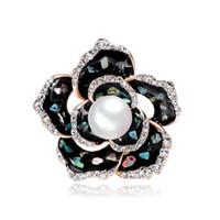 Gros Black Shell Floral Pin Broche Designer Broches Badge En Métal D'émail Broche Broche Femmes De Luxe Bijoux De Noce Décoration