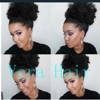 Kinky Curly Afro Ponytail (8 pouces) cheveux humains Kinky Curly Ponytail pour les femmes noires couleur naturelle cordon Afro Ponytail cheveux Extensios