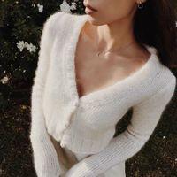 Yeni tasarım kadın v yaka uzun kollu tiftik yün hırka ceket triko ceket kırpma üst kısa casacos kazak örme