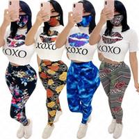 + leggings mulheres Designer camisa Treino de impressão Lips flor 3 peças de roupa Set Top Curto t calças + mascarar roupa casual sportswear VENDA D61908