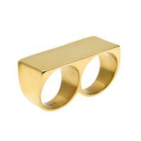 Творческий хип-хоп два пальца кольцо для человека геометрические глянцевый позолоченный нержавеющей стали простой кольцо ювелирные изделия аксессуары оптом