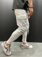 Мужской Jogger Брюки Zipper Дизайнерские Карманный Карандаш Брюки Твердые мужские брюки цвета