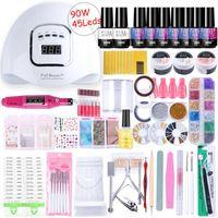Super manucure Dryer Gel Polish acrylique Kit ongles avec UV Led Lamp Soak Off Nails Tool Set poignée électrique Accessoires NL1582