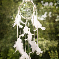 Lace Traumfänger Circular mit Federn Handgefertigte Gehäkelte Weiß Traumfänger Wind Chimes hängende Dekoration Ornament-Fertigkeit-Geschenk LXL839-1