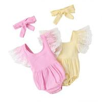 Bebek Backless Bandaj Üçgen Tulum Yaz 2020 Çocuk Giysileri Butik Yenidoğan Bebek Toddlers Kızlar Pamuk Onesies
