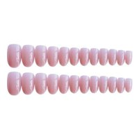 Ragazze Pink Color False Women Nature Nude Jelly Falso corto tondo capo copertura completa Nail Art Tips con colla 24pcs