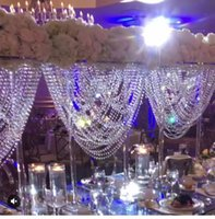 Elegant oval shape crystal acrylic beaded wedding centerpieces flower stand table decor for event party decoration