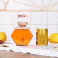 الزجاج العسل جرة ل220ML / 380ML البسيطة العسل الصغيرة زجاجة الحاويات وعاء مع ملعقة خشبية عصا EEA1353-7