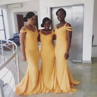 2021 Robe de demoiselle d'honneur africaine nigérien sirène col en V simple bon marché longueur de plancher Weding Guest Dresses Robe d'invité de mariage Robe formelle