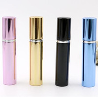500PCS 7ML زجاجات زجاجة عطر أنابيب الألومنيوم مشرق رذاذ رذاذ السفر الزجاج إعادة الملء زجاجة 4 ألوان الذهب الأسود وردة زرقاء
