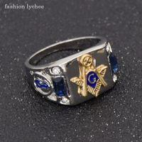 мода личи масон синий Кристалл мужчины кольцо панк стиль масонская мода байкер палец кольца ювелирные изделия подарок