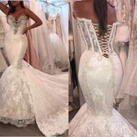 Heißer Verkaufs-reizvolle Nixe-Brautkleider Spitze Sleeveless wulstige Plus Size Brautkleider Abnehmbare Zug nach Maß Arabien