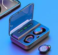 빠른 1200MAH 전원 은행 헤드셋과 마이크 무료 DHL과 함께 TWS F9 F9-5 무선 이어폰 블루투스 5.0 미니 스마트 터치 이어 버드 LED 디스플레이
