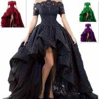 웨딩 드레스 짧은 전면 긴 다시 Strapless Hi-lo 바닥 길이 블랙 레이스 웨딩 드레스 레이스 업 다시 사용자 정의 크기