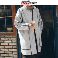 Erkek Çizgili Büyük Boy Harajuku Overcaot Kış Ceket Coats için LAPPSTER Erkekler Koreli modası Uzun Coat 2019 Süet Hendek Coat
