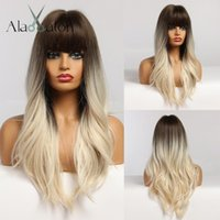 ALAN EATON Long Water Wave Synthetic Wigs Natural Ombre Blac...