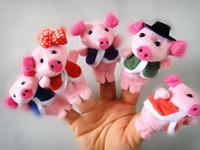 50pcs = 10 encantador de la porción marioneta de dedo historia se cuente juguetes de peluche bebé RPG jugar utiliza papel de la muñeca de la mano marioneta animal grupo del juguete
