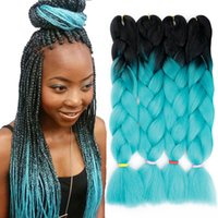 Duas Cores Ombre Kanekalon Synthetic trança Jumbo Braid Hair Extensions 24 polegadas 100g / embalar Xpression tranças Crochet Box Tranças