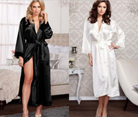 Unisex erkek Bayanlar bayan Katı düz rayon ipek uzun Robe Pijama Lingerie Gecelik Kimono Kıyafeti pjs Kadınlar Elbise 6 renkler