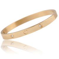 Titan Stahl Armreif Schmuck Neue Mode Luxus Zirkon Armbänder Grade Qualität Vergoldet Herz Armreif Schmuck Großhandel LBR023
