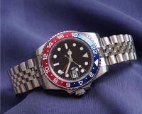Erkek İzle Kol Mavi Siyah Seramik Çerçeve Paslanmaz Çelik Watche 116710 Otomatik GMT Hareketi Sınırlı Watchess Jubilee Master