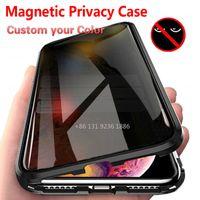 Metal IPhone için 11 Pro Max XS Max XR X 7 8 6 6S Artı önleyin Peep temperli İçin Telefon Kılıfı Özel tutun Vaka Manyetik Gizlilik