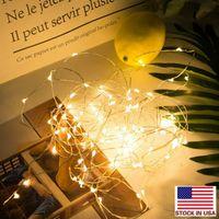 Светодиодные строки 2 м медный серебряный провод огни батареи сказочный свет для Рождества Хэллоуин главная вечеринка свадьба украшения