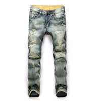 Hemiks Men Vintage Casual Ripped Broken Hole Jeans 2020 fash...