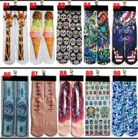 3D Meias 500 Design Kids Mulheres Homens Hip Hop Algodão Meias Skate Impresso Sock 100 pcs = 50Pairs