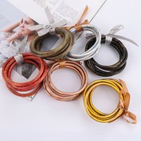 5 PCS / Set bowknot Or Argent Glitter Bangles Set 2019 All Weather Stack Silicone Plastique Glitter Jelly Bangles gros Bracel
