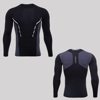 Running shirts dry fit mens gym clothing scoop neck long sleeves qlttyy dri underwear body building suiit polyester apparel