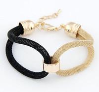 Braccialetto del braccialetto 925 del nastro placcato oro sul pulsante in lega di schiocco della plastica del braccialetto di scatto serpente catena Braccialetti di fascino
