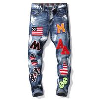 Neue Jeans Herren blau Splash-Ink und Stickerei und Briefdruck hochwertige Classic Design Jeans Herren