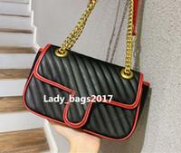 Newset Diagonal Stripes-Taschen Love Herz V Wellenmuster Satchel Kette Handtaschen-Frauen-Geldbeutel-echtes Leder-Umhängetasche