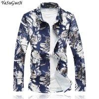 Camisas casuales de los hombres yasuguoji 2021 otoño inteligente floral manga larga camisa hombres más tamaño 7xl suelto hawaiian camisa CS14